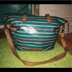 Large blue stripped fossil coated canvas tote.